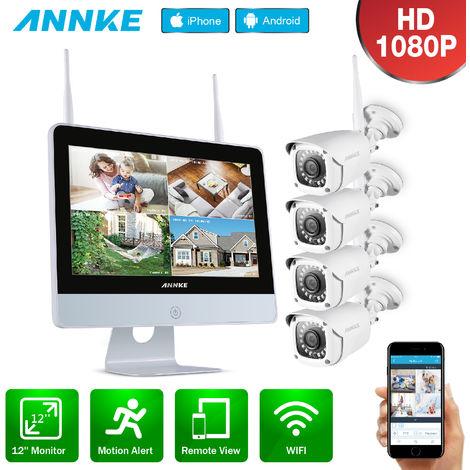 ANNKE Sistema de videovigilancia de 8 canales 1080P FHD Wi-Fi NVR con monitor LCD de 12 '', protector de pantalla automático, cámaras IP tipo bala de 4 × 1080 p para interiores y exteriores