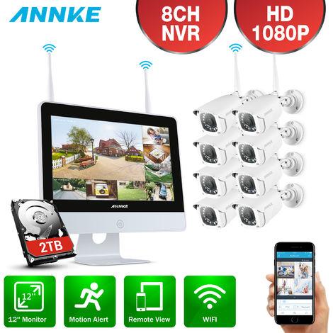 ANNKE Sistema de videovigilancia de 8 canales 1080P FHD Wi-Fi NVR con monitor LCD de 12 '', protector de pantalla automático, cámaras IP tipo bala de 8 × 1080 p para interiores y exteriores