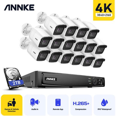 ANNKE Surveillance 16K 4K Ultra HD PoE Système de sécurité vidéo réseau 16CH 4K H.265 + NVR de surveillance avec 16 caméras haute définition 8MP HD
