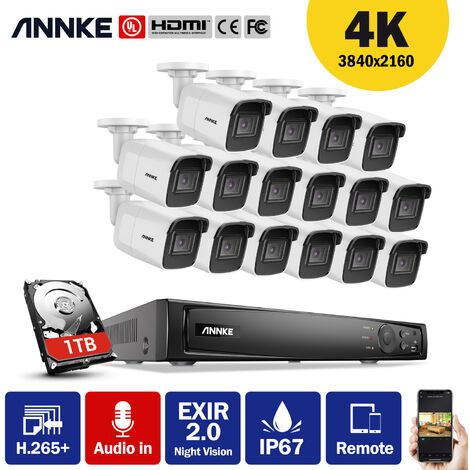 ANNKE Surveillance 4K Ultra HD PoE 16CH 4K H.265+ Network Video Security System + Surveillance NVR with 16 8MP HD High Definition Cameras Audio Recording
