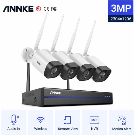 ANNKE Système de caméra de sécurité IP WiFi 8CH avec 4 caméras de surveillance sans fil intérieures extérieures 1080p enregistrement Audio IP66 étanche sans disque dur