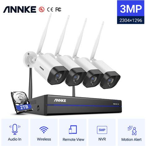 ANNKE Système de caméra de sécurité IP WiFi 8CH avec 4 caméras de surveillance sans fil intérieures extérieures 3M enregistrement Audio IP66 étanche avec disque dur de 2 To