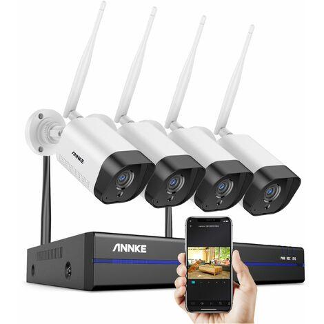 ANNKE Système de caméra de sécurité IP WiFi 8CH avec 4 caméras de surveillance sans fil intérieures extérieures 3M enregistrement Audio IP66 étanche sans disque dur