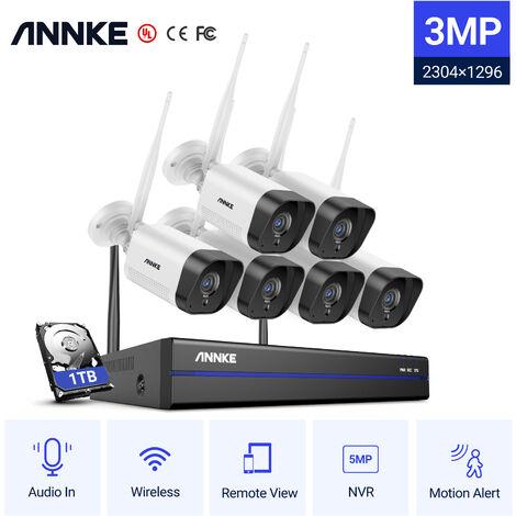 ANNKE Système de caméra de sécurité IP WiFi 8CH avec 6 caméras de surveillance sans fil intérieures extérieures 1080p enregistrement Audio IP66 étanche avec disque dur de 1 To
