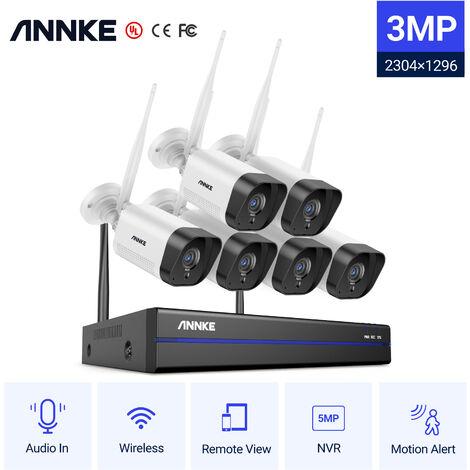 ANNKE Système de caméra de sécurité IP WiFi 8CH avec 6 caméras de surveillance sans fil intérieures extérieures 1080p enregistrement Audio IP66 étanche sans disque dur