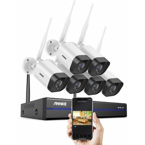 ANNKE Système de caméra de sécurité IP WiFi 8CH avec 6 caméras de surveillance sans fil intérieures extérieures 3M enregistrement Audio IP66 étanche sans disque dur