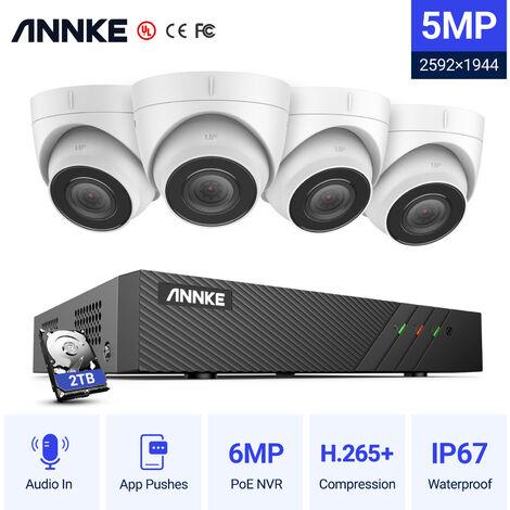 ANNKE Système de caméra de sécurité NVR sans fil Super HD à 4 canaux 5MP avec caméras WiFi 3MP Micro intégré Moniteur LCD 10,1 '' Détection humaine AI pour la surveillance extérieure / intérieure - Disque dur de 1 To