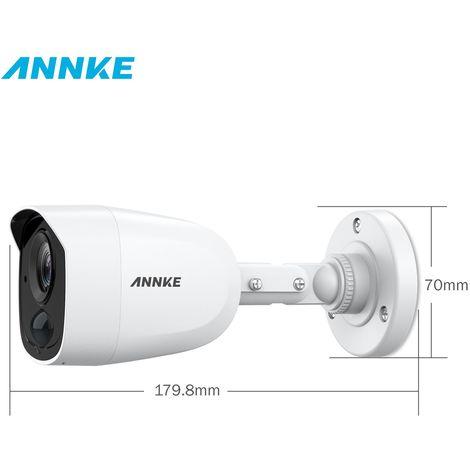 ANNKE Système de caméra de vidéosurveillance 8 canaux H.265 + DVR et 4 × 1080p HD Caméras bullet résistantes aux intempéries Détection PIR Alarme Clignotante Alerte Email