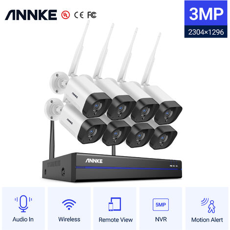 ANNKE Système de sécurité NVR sans fil 8 canaux 5MP avec caméras IP Super HD WiFi 3MP Vision nocturne H.264 + de 100 pieds pour la surveillance extérieure / intérieure 4 caméras