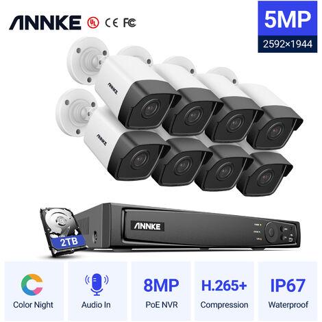 ANNKE Système de vidéosurveillance NVR Wi-Fi 8CH 1080P FHD avec écran LCD de 12 pouces, économiseur d'écran automatique, 4 × 1080P caméras IP bullet d'intérieur et d'extérieur