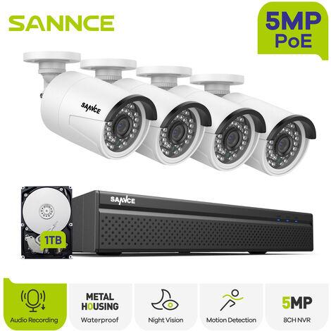 ANNKE Système de vidéosurveillance WiFi NVR 4CH 3M Full HD avec moniteur LCD 10,1 '', système de sécurité sans fil Plug and Play, 4 caméras IP extérieures / intérieures Avec disque dur de 1 To
