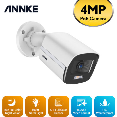 """main image of """"ANNKE True Full Color Night Vision H.265+ 4MP Super HD PoE Bullet IP Security Camera for Outdoor Indoor CCTV Surveillance"""""""
