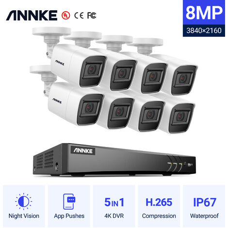 ANNKE Ultra HD 4K H.265 8 Channel DVR Video Surveillance Camera System and 8pcs HD High Definition 4K HD Night Vision Cameras EXIR LED - 0TB Hard Disk Drive included