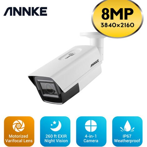 ANNKE Zoom 4K 8MP Ultra HD TVI Bullet Security Camera with 5X Optical Zoom 260 ft Night Vision IP67 Weatherproof for Outdoor Indoor CCTV Surveillance