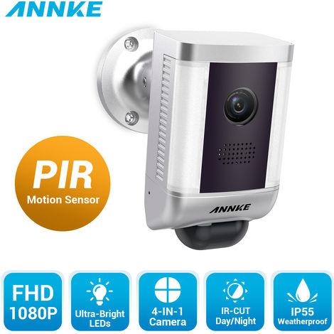 ANNKECámara de vigilancia Full HD 4 en 1 con luz cálida, lente gran angular de 3.6 mm para visión nocturna al aire libre, cámara de vigilancia IP55 a prueba de mal tiempo con cable IP55