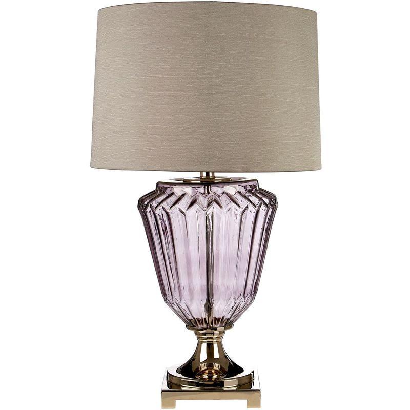 Image of Annot Table Lamp / Eu Plug, Smoke Glass / Shiny Nickel, Grey Silk Shade