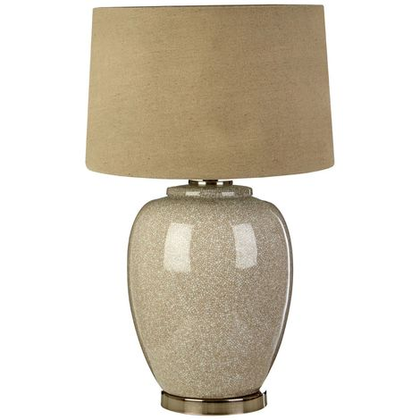 Anora Table Lamp, Ceramic/Nickel, Stone Linen Shade