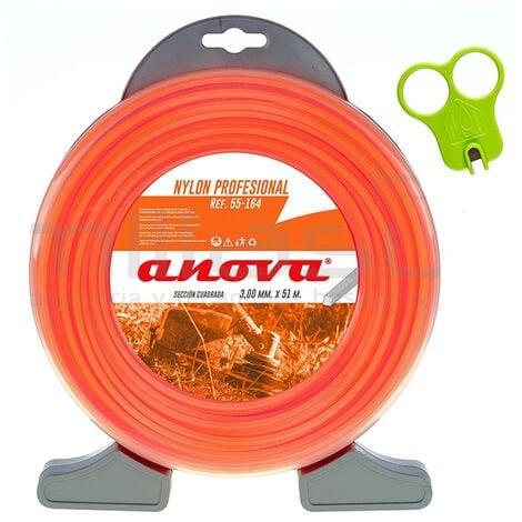 Anova Nylon profesional cuadrado naranja con dispensador 3mm x 51 mt