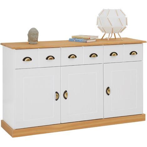 Anrichte PARIS 3 Schubladen 3 Türen, weiß/braun