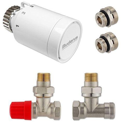 Anschluss-Set für Vertikal- & Badheizkörper - Eckform - Thermostatventil nach vorne, rechts o. links
