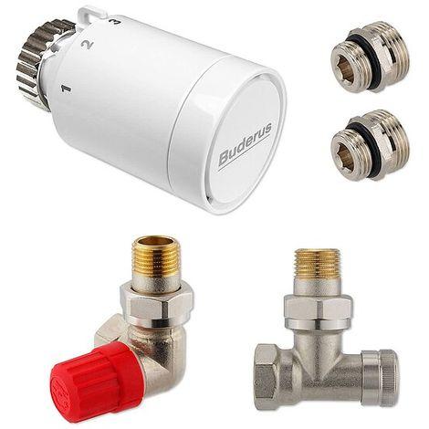 Anschluss-Set für Vertikal- & Badheizkörper - Winkel-Eck, Thermostatventil zur Seite, links