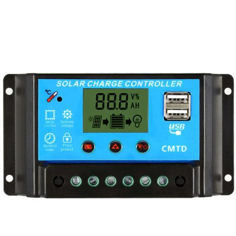 Anself 10A 12.6V LCD charge solaire controleur PWM Regulateur de charge pour le panneau solaire Batterie au lithium lampe protection contre les surcharges