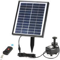 Anself 12V 5W Solar Power Brushless Pompe a eau integree batterie de stockage Telecommande LED submersible Pompe Fontaine pour etang de jardin
