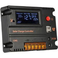 Anself 20A 12V 24V LCD de charge solaire Contr?leur de r?gulateur automatique de la batterie Loquet de protection de surcharge Compensation de temp?rature