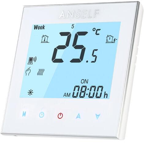 Anself 3A 110 ~ 240V de chauffe-eau d'economie d'energie WIFI thermostat intelligent avec ecran tactile LCD Controleur durable temperature programmable Bonne qualite Home Improvement Thermostat Produit pour sol Eau Systeme de chauffage