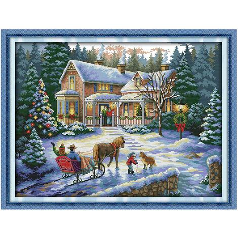 Anself 57 * 44Cm Main Bricolage Point De Croix Compte Needlework Set Kit De Broderie De Noel Decor Decoration 14Ct