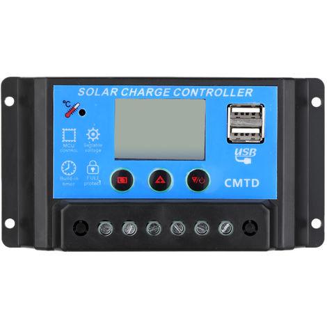 Anself, controlador de carga solar 10A 12V / 24V, con pantalla LCD