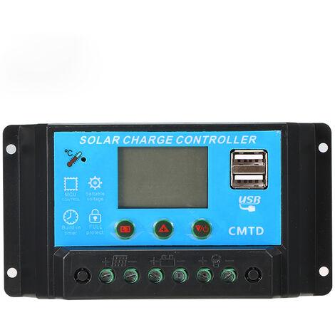 Anself, controlador de carga solar LCD, 20A, 12V / 24V