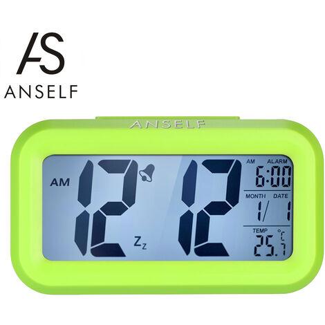 Anself LED digital despertador Repitiendo sensor de la luz de fondo activada por luz Snooze Fecha visualizacion de temperatura, Negro