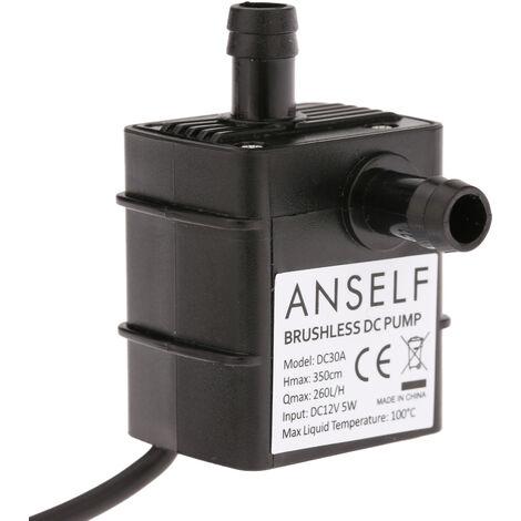 Anself Mini Miniature DC Brushless Pompe submersible DC12V Head 3.5m Pompe a eau, resistance a la temperature 0 ~ 100 ¡æ
