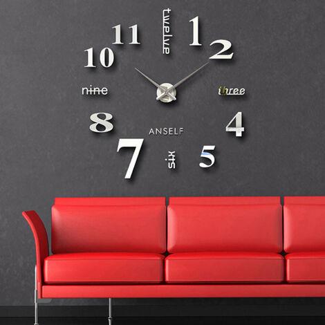 Anself Moderne Bricolage Horloge Murale Grande Montre Decor Stickers Set Effet Miroir Verre Acrylique Decal Accueil Amovible Decoration, 110 Cm X 110Cm, Argent
