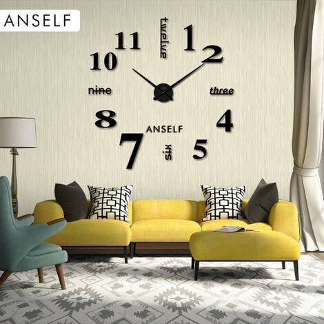 Anself Moderne Bricolage Horloge Murale Grande Montre Decor Stickers Set Effet Miroir Verre Acrylique Decal Accueil Amovible Decoration, Noir