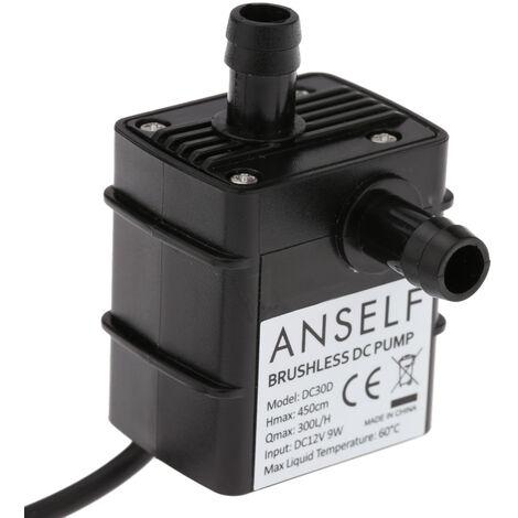 Anself ultra-silencieux Mini DC12V 9W Micro Brushless eau Pompe a huile aquarium etanche submersible Fontaine Circulating 300L / H 450cm Lift