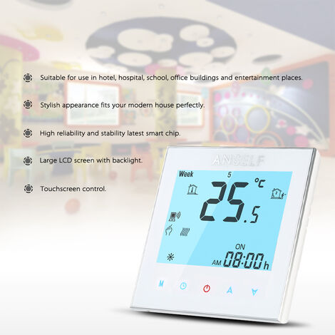 Anself WIFI ordinateur de telephone portable controleur de temperature de controle sans fil BHT-1000-GA-WIFI chauffe-eau blanc