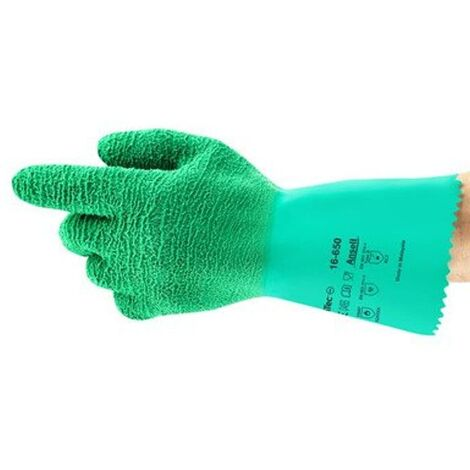 Ansell 16-650 Gladiator Green Natural Rubber Latex Gloves - Size 9