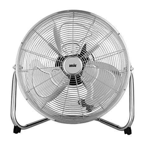 """ANSIO 18"""" Chrome Gym Floor Standing Fan with 3 Speeds and 120 Degrees Vertical tilt - **2 Years Warranty**"""