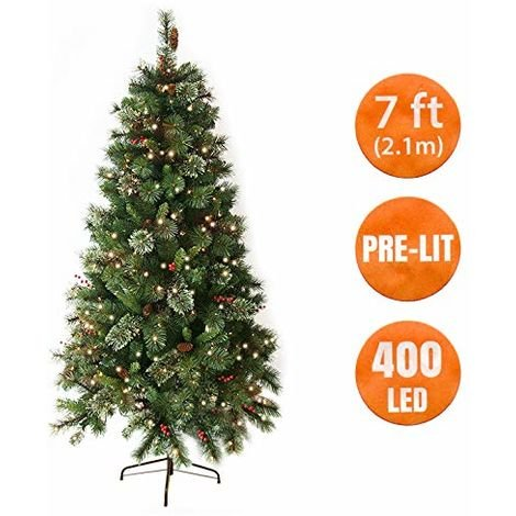 ANSIO Christmas Tree 7 Ft Pre Lit 400 LED Artificial Tree with Berries and Pine Cones, Needle Pine Mixed Tips, Hinged and Metal Stand