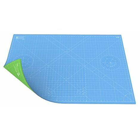 ANSIO Craft Mat Self Healing A0 Double Sided 5Layers - Quilting, Sewing, Scrapbooking, Fabric & Papercraft - Imperial/Metric 46 Inch x 33.5 Inch / 118cm x 86 cm - Sky Blue/Lime Green