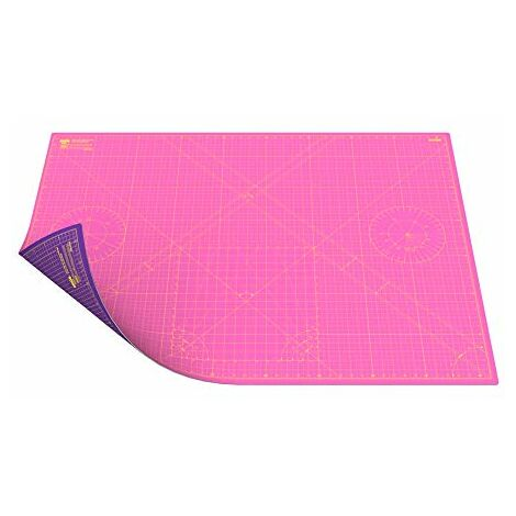 ANSIO Craft Mat Self Healing A0 Double Sided 5Layers - Quilting, Sewing, Scrapbooking, Fabric & Papercraft - Imperial/Metric 46 Inch x 33.5 Inch / 118cm x 86 cm - Super Pink/Royal Purple