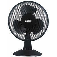 ANSIO Desk Fan Portable 9 inch Oscillating Fan with 2 Speed Settings 25 Watts - Black Cooling Fan Suitable for Home and Office - 2 Years Warranty