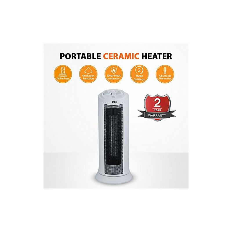 2 Years Warranty 2 Heat Settings Adjustable Thermostat and Safety Cut-Off ANSIO Heater Portable Oscillating 2000 Watts PTC Ceramic Tower Heater