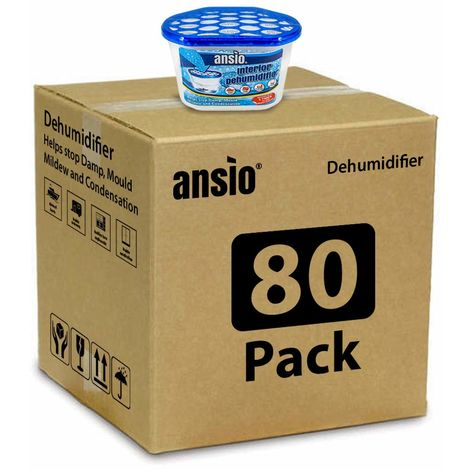 ANSIO Interior Dehumidifier Condensation Remover Moisture Absorber Dehumidifiers for Damp Mould Moisture in Home Caravan Office Garage 500ml