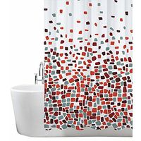 ANSIO Shower Curtain, Mould and Mildew Resistant 180 x 180 cm (71 x 71 Inch) | 100% Polyester - Mosaic Patterned - Red
