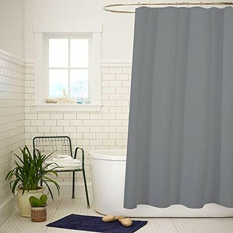 ANSIO Shower Curtain Mould & Mildew Resistant 180 x 180 cm (71 x 71 Inch) | 100% Polyester - Charcoal Grey