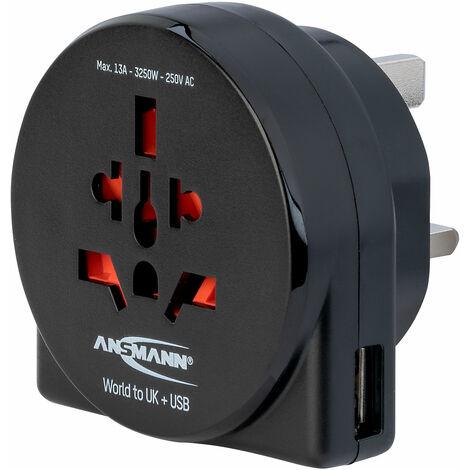 Ansmann 1250-0014 Travel plug - World to UK + USB