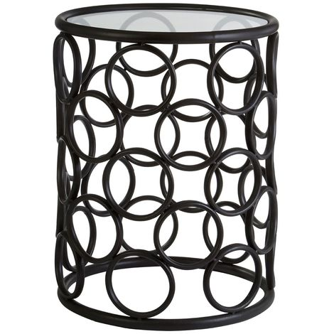 Antalya round side table,black metal frame,glass top